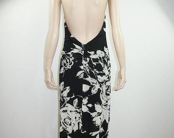 Vng 80's Lillie Rubin Semi Sheer Mod OP ART Backless Halter Dress Xtra Long Sz S-M / Vng Lillie Rubin Hawaiian Op Art Black and White Maxi