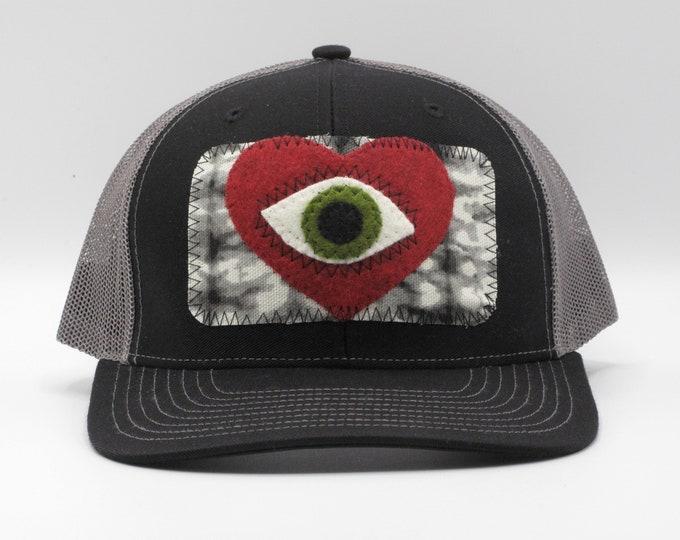 All Seeing Heart Black Baseball/Trucker Hat