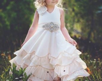 Flower girl dress, boho flower girl dress,rustic Ivory flower girl dress , flower girl dresses, beach wedding flower girl dress, champagne