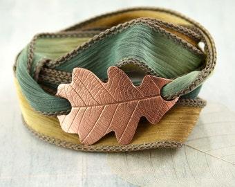 Copper Oak Leaf Bracelet - Silk Ribbon Wrist Wrap in Woodland Theme| Nature Inspired | Nature jewelry | Copper Bracelet