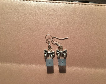 Earrings, dangle, blue gift box with silver bow on sterling silver hooks.