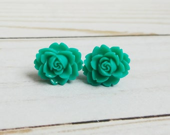 Teal Plugs, Large Rose Plugs for Gauged Ears 3/4 Inch, 5/8 Inch, 9/16 Inch, 1/2 Inch, 00g, 0G, 2G, 4G , 6G, 4mm, 5mm, 6mm, 8mm, 10mm