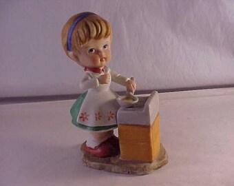 Porcelain Lefton Figurine Girl Cooking