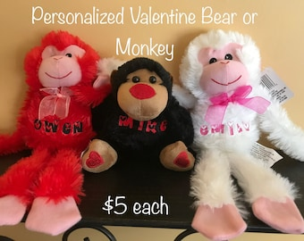 Personalized Valentine Bear or Hanging Monkey