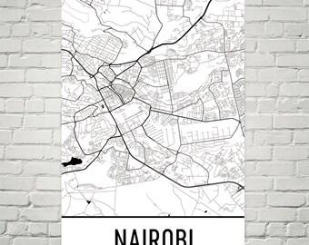 Nairobi Map, Nairobi Art, Nairobi Kenya Poster, Nairobi Wall Art, Nairobi Gift, Nairobi Decor, Nairobi Map Art, Nairobi Map Print, Art Print