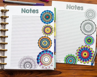 COLORING Big Happy Planner Mandala Notes Sheet, Letter Disc Bound Notebook, Coloring Planner Refill, Create 365 Happy Planner Insert
