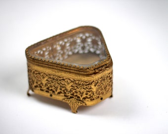 Vintage Ormolu Gold Filigree Jewelry Box, Beveled Glass Matson Vitrine Jewelry Casket, Trinket Box, Antique Victorian Bronze Jewelry Box