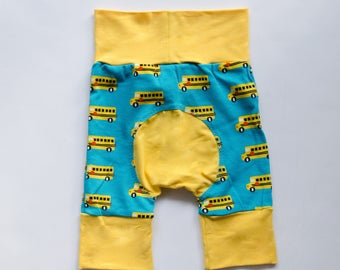 Bus and Yellow Baby Big Butt Shorts - Grow with me shorts - Cloth diaper friendly - Toddler - Gift