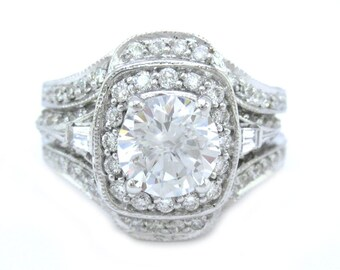 Round cut diamond engagement ring and bands 2.50ctw