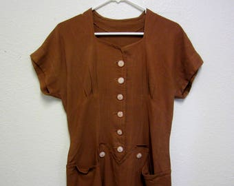 Vintage 1940's Day Dress/1940's Linen Day Dress/Chocolate Brown 1940's Linen Dress