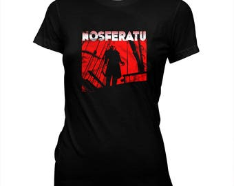 NOSFERATU - '20s silent horror - F. W. Murnau - Women's hand made 100% cotton silk screened t-shirt