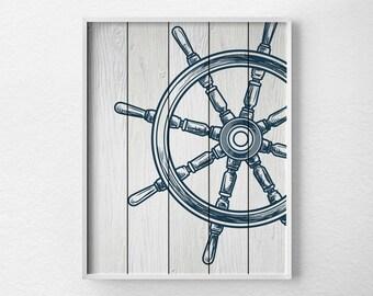 Nautical Wheel Decor, Nautical Bathroom Art, Nautical Print, Sailing Art, Nautical Decor, Nautical Nursery, Sailing Print, Beach Art, 0292