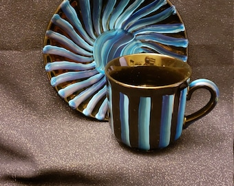 Blue Dimensions Teacup & Saucer