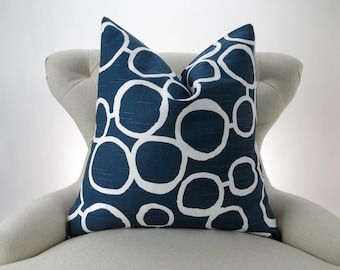 Navy Circles Pillow Cover -MANY SIZES- Freehand Blue Premier Prints - cushion throw couch euro sham decorative dots modern organic mod
