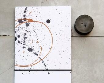 Black Splatter Copper Twist A5 Notebook, black and white modern journal, minimalist monotone recycled aper stationery, gift idea