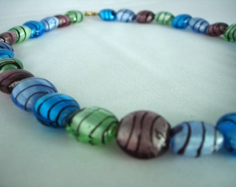 Murano Glass Bead Necklace - Colorful - Multicolored - Blue, Grey, Purple, Striped, Round Beads