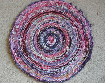 """Round Rag Rug - Purples are the main color -  21.5"""" Circle"""