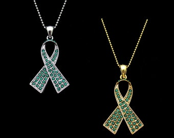 Crystal Emerald Green Ribbon Bow Hepatitis B Liver Cancer Awareness Pendant Charm Necklace Silver Tone Gold Tone