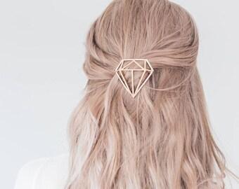 Diamond hair Clip, Metal Hair Clip, Minimalist Hair Clip, Minimalist Hair Accessory, Geometric Hair Clip, Hair Barrette, Diamond Hair Clip