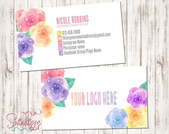 Custom Business Card, Business Card Design, Independent Consultant, Watercolor Roses, inspired by LLR