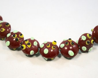 Dark Red Bumpy Lampwork  Glass Beads  8 Beads   (13 x 15 mm)