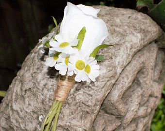 Artificial White Rosebud with Daisies Pin on  Buttonhole/Boutonniere, Wedding Buttonhole.Corsage