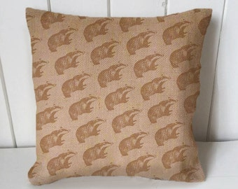 Badger Vintage  - Cushion Fabric Panel Or Case or with Filling Rustic Natural Jute Burlap Hessian