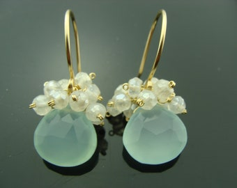 Aqua Blue Chalcedony and White Pearl Chalcedony Cluster 14K Gold Filled or Sterling Silver Earrings