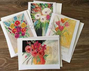Set of 4 Flower Vase Greeting Cards with Envelopes / Floral Prints of Original Art / Art Prints / Blank Greeting Card Set / All Occasion