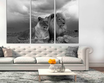 3 Panel Canvas Split, black and white African Lion and Lioness pair resting, canvas art,Interior design,Decoration, Photo gift,Lion wall art