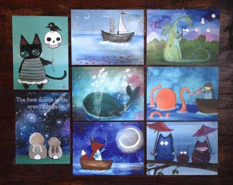 Set of Eight Art Post Card Whimsical Animals fox octopus whale Postcards Blank Greeting Card Kids Art Hello Just Because
