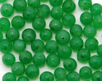 6mm vintage jade glass one-hole beads - half drilled - 24pc