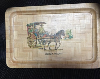 Platter, Horse and carriage, Calesa philippines, bamboo platter