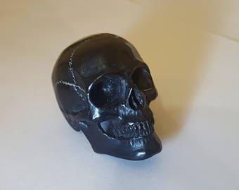 "Billiard ball 8 ball skull carving  carved from 2 1/4"" pool ball  hand carved skull memento mori"