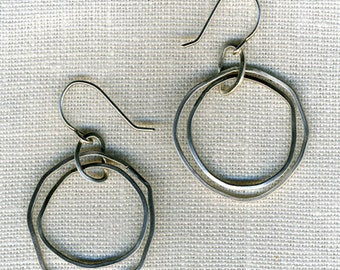 Double Circle asymetric double circle hoop Organic sterling silver dangle Earrings