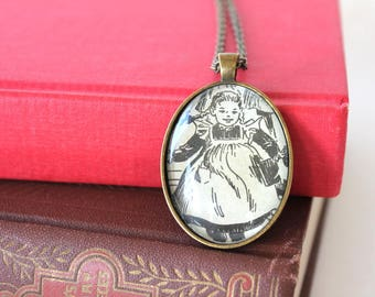 All Of A Kind Family - Sydney Taylor - bookish jewelry - teacher holiday gift - librarian jewelry - Jewish family - book necklace - pinafore