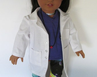 White Science Labcoat, Purple t shirt, Space leggings, STEM outfit,girl doll clothes , fits 18 inch dolls such as American Girl dolls