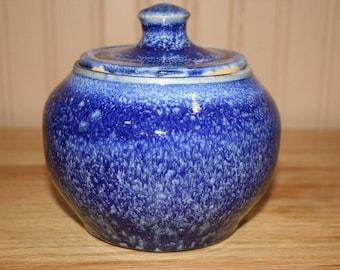 Handmade blue covered sugar bowl, ceramic lidded jar
