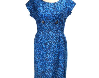 vintage 1950's silk floral dress / blue / wiggle dress / 50s dress / garden party dress / mad men / women's vintage dress / size medium