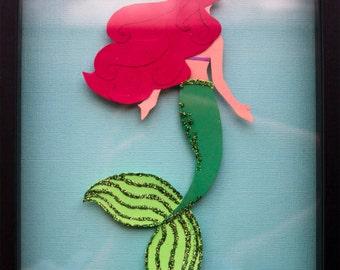 Beautiful Ariel Little Mermaid Paper Art Disney Princess Inspired Adorable