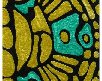 """ACEO Nr. 17  Abstract Pattern... original painting, acrylic on paper, 2,5""""x 3,5"""", 6,4 x 8,9 cm, pattern, gold, abstract, black, fantasy"""