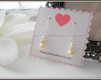 Classic Swarovski Pearl Dangle Earrings SILVER PLATED Flower Girl Junior Bridesmaid E024