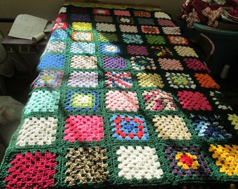 Handcrafted Twin Size Granny Square Afghan Hunter Green Trim