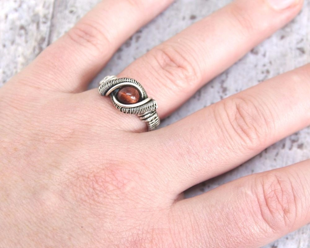 Red Tiger Eye Ring, Heady Wire Weave Ring, Sterling and Fine Silver Wire Wrapped Jewelry, Deep Red Stone Ring, Guys or Gals, Any Size, Gift