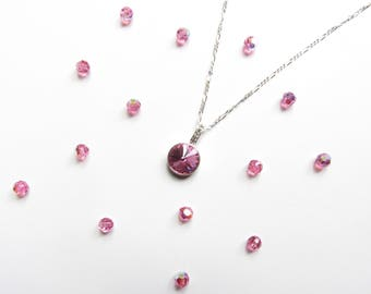 October Birthstone Necklace, Custom Necklace Personalize, CHOOSE LENGTH, October Birthday Jewelry Gifts, Birthday Gifts for Her, Rose Pink
