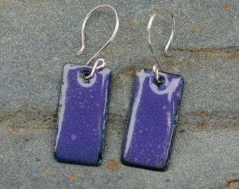 Small Enamel Earrings Copper Dog Tag - Grape