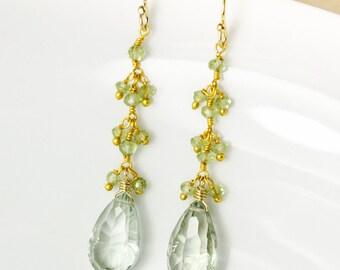 Gold Green Amethyst & Green Peridot Earrings - Green Amethyst Teardrops - Gold or Silver