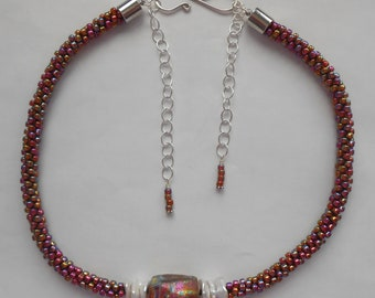 Kumihimo Necklace with Basha Bead & Pearls