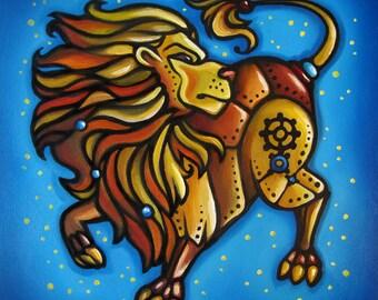 Leo Zodiac Art Print, Steampunk, Wall Art, Kids Room Birthday Gift, 6x6