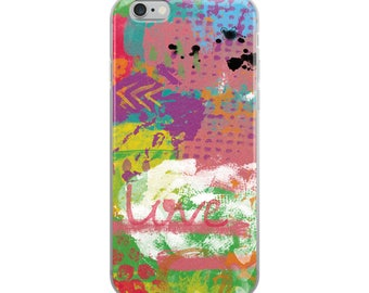 Love To Paint 04A Digital Painting Bold Colorful Acrylic Stenciled Textured iPhone Case